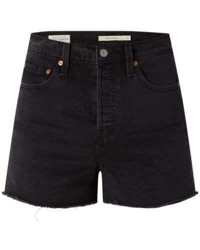 Czarne szorty jeansowe z wysokim stanem bawełniane Levi's