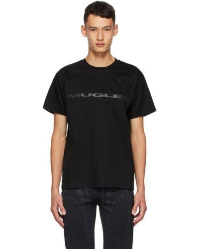 Czarny t-shirt bawełniany z haftem Mugler