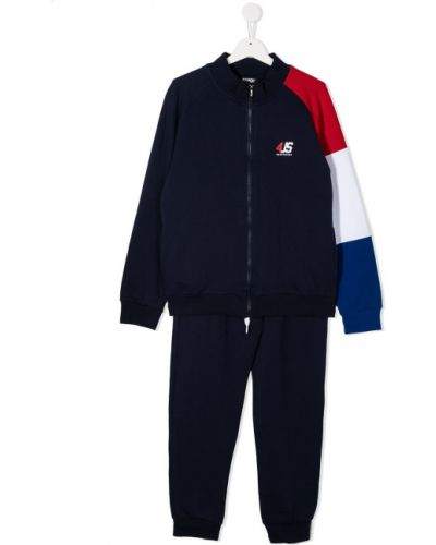 С рукавами синий костюмный спортивный костюм с поясом Cesare Paciotti 4us Kids