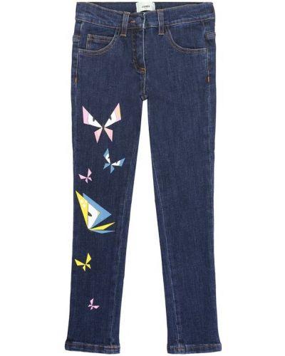 Прямые джинсы с аппликацией Fendi