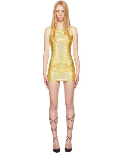 Żółta sukienka mini srebrna z siateczką Saks Potts