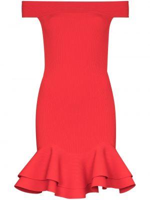Красное коктейльное платье с открытыми плечами с оборками Alexander Mcqueen
