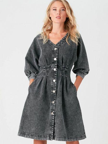 Джинсовое платье серое весеннее Love Republic