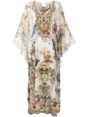 Платье макси с длинными рукавами - белое Camilla