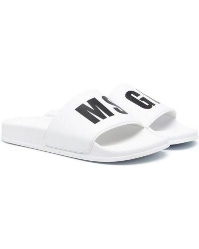 Открытые белые шлепанцы с открытым носком Msgm Kids