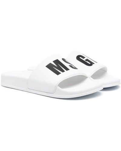 Открытые белые брендовые шлепанцы Msgm Kids