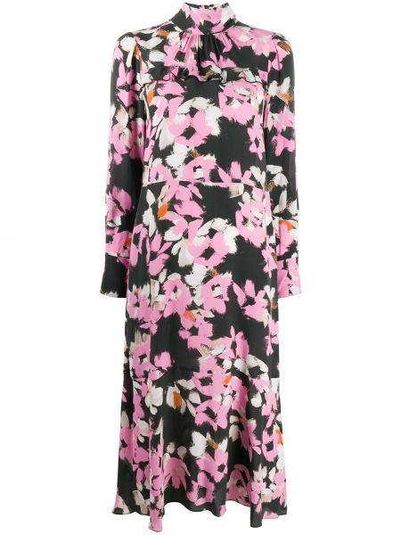 Розовое расклешенное платье миди с длинными рукавами на пуговицах Dorothee Schumacher