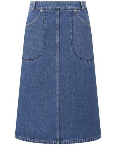 Хлопковая синяя джинсовая юбка Kenzo