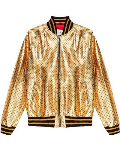 Кожаная куртка на молнии трикотажная Gucci