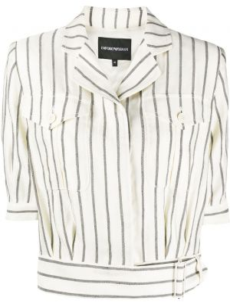 Czarna koszula krótki rękaw w paski Emporio Armani