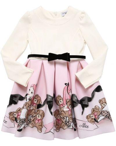 Ажурное бархатное платье с рукавами круглое с круглым вырезом Monnalisa