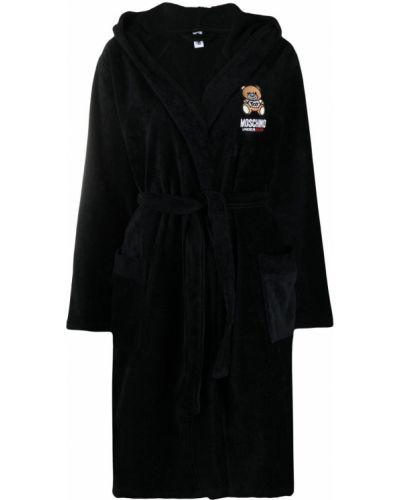 Czarny długi szlafrok bawełniany z kapturem Moschino