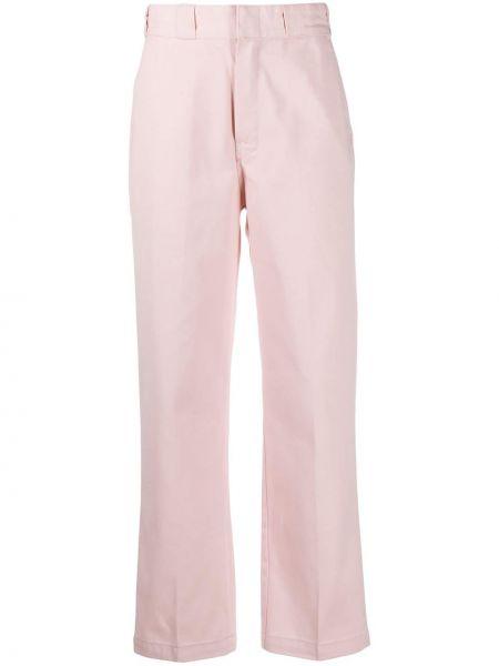 Брючные розовые укороченные брюки с поясом с заплатками Dickies