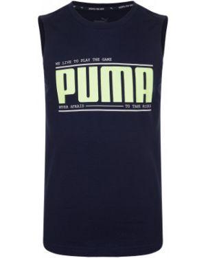 Прямая синяя хлопковая спортивная футболка Puma
