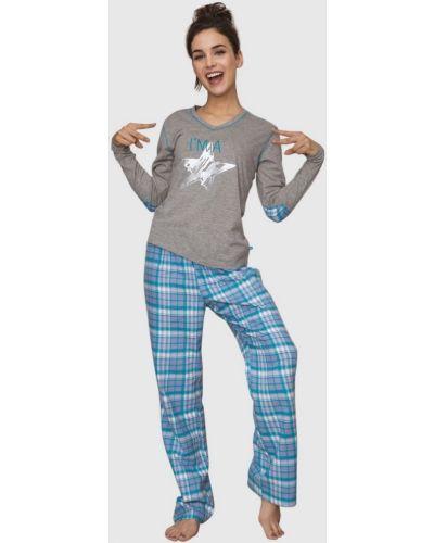 Фланелевая пижама с брюками в клетку с длинными рукавами Key