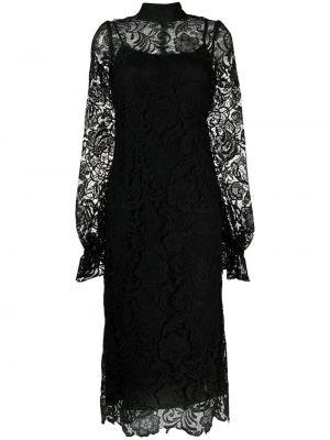 Czarna sukienka długa koronkowa z długimi rękawami Wandering