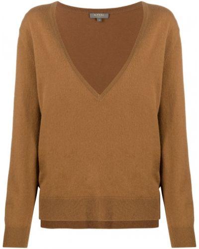 Коричневый кашемировый свитер с V-образным вырезом в рубчик N.peal