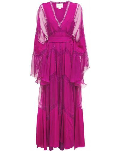 Кружевное розовое платье из крепа Zuhair Murad