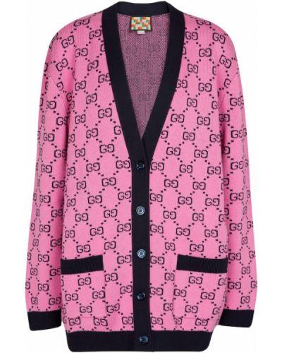 Розовая кардиган жаккардовая Gucci