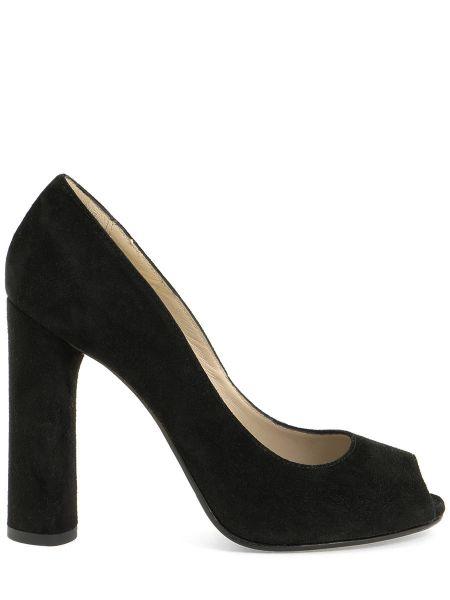 Туфли на каблуке черные замшевые Per Te