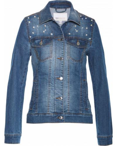 Джинсовая куртка классическая на пуговицах Bonprix
