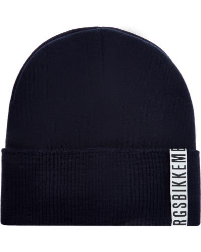 Шерстяная синяя шапка бини с отворотом Bikkembergs