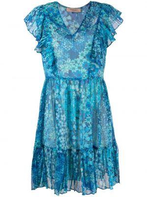 Niebieska sukienka mini krótki rękaw w kwiaty Twin Set
