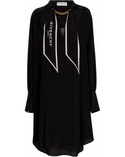 Jedwab czarny sukienka midi Givenchy