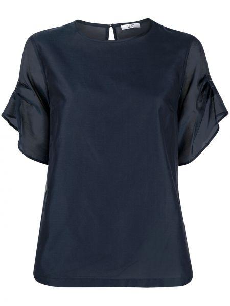 С рукавами синяя шелковая блузка Peserico