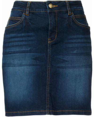 Синяя джинсовая юбка со складками Bonprix
