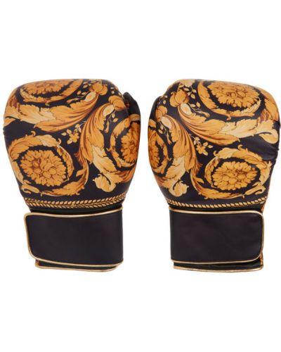 Złote czarne rękawiczki na rzepy Versace