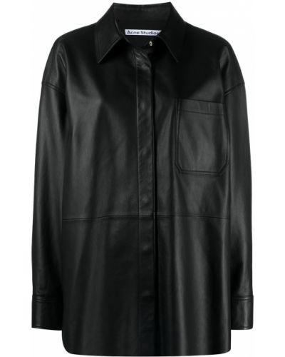 Кожаная черная классическая рубашка с длинными рукавами Acne Studios