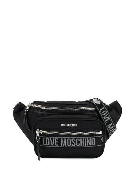 Поясная сумка черная на молнии Love Moschino