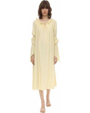 Żółta sukienka midi asymetryczna z długimi rękawami Aeryne