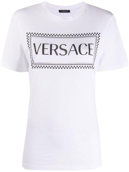 Хлопковая прямая белая футболка Versace Collection