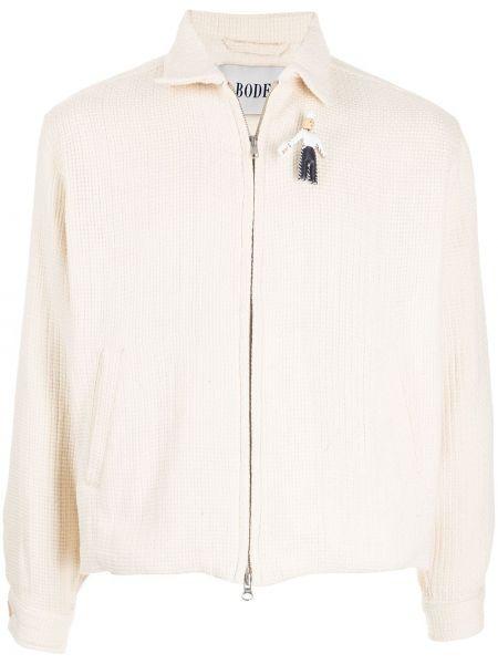 Biała kurtka z haftem Bode