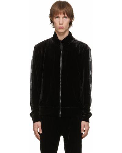 Czarna kurtka jeansowa z aksamitu z długimi rękawami Versace Jeans Couture