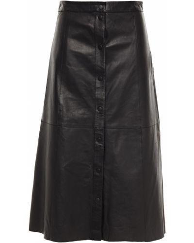 Черная кожаная юбка миди с подкладкой Muubaa