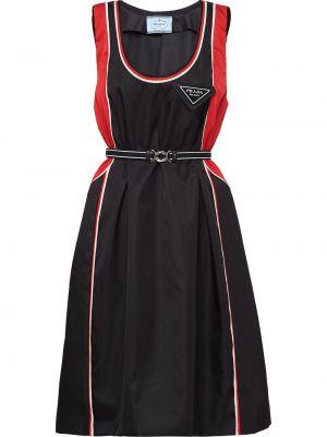 Нейлоновое расклешенное платье без рукавов с вырезом Prada