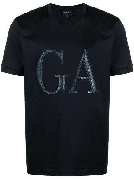 Niebieski t-shirt bawełniany z printem Giorgio Armani