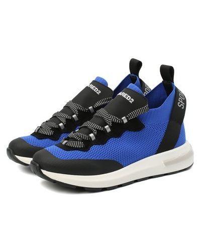Синие кожаные кроссовки Dsquared2
