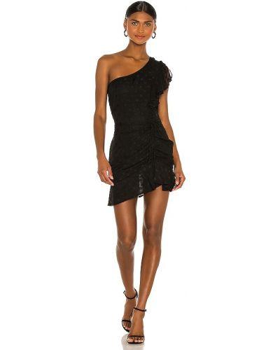 Шелковое черное платье мини на одно плечо Karina Grimaldi