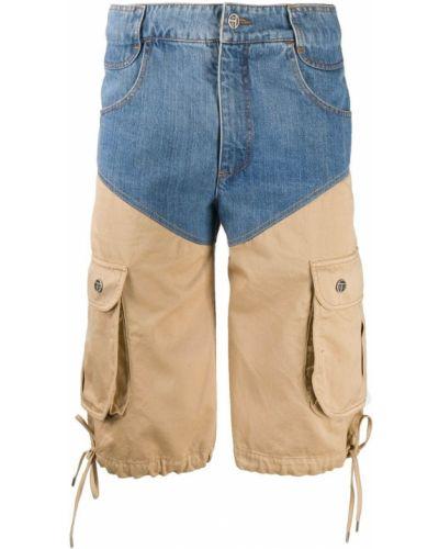 Хлопковые синие джинсовые шорты с карманами на молнии Telfar