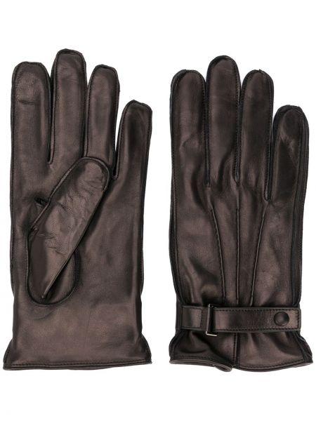 Czarne rękawiczki skorzane klamry Ermenegildo Zegna