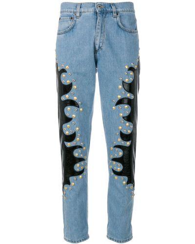 Прямые джинсы классические с аппликацией с заклепками Moschino