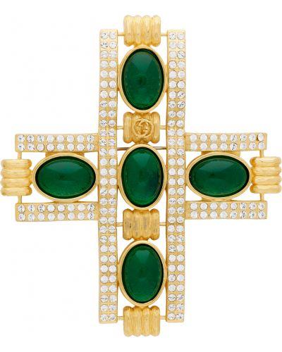 Złota broszka - zielona Gucci