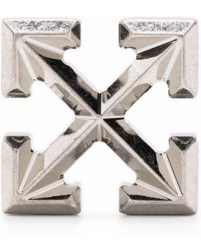 Białe kolczyki srebrne Off-white