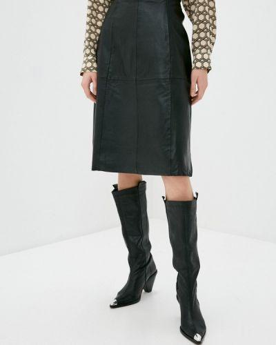 Черная кожаная юбка Selected Femme