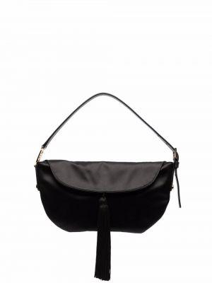 Черная сатиновая сумка тоут с кисточками Alberta Ferretti