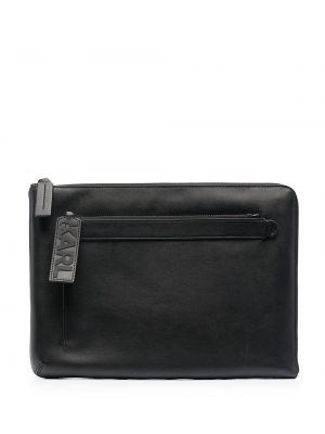 Kopertówka skórzana - czarna Karl Lagerfeld